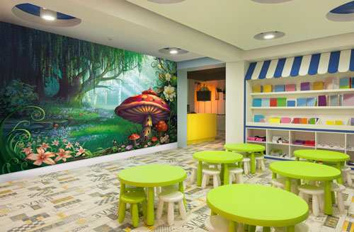 Childrens play centre wall murals wallpaper wallsauce for Children mural wallpaper