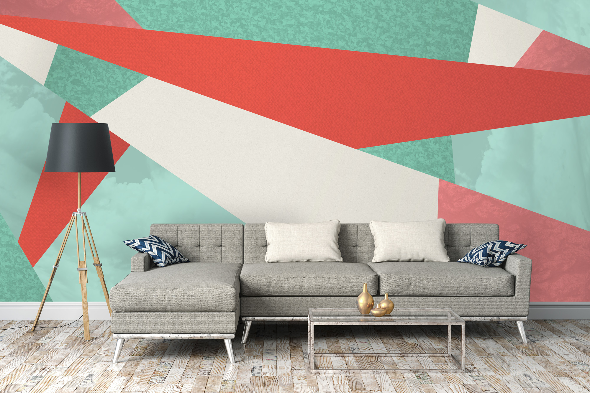 Colour block geometric wallpaper