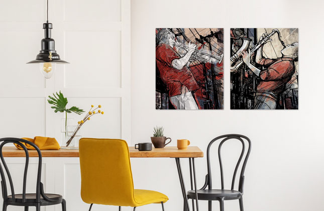 music metal prints in dining room