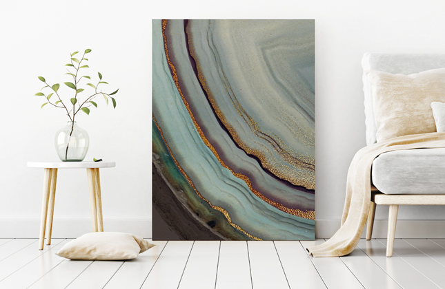 abstract metal print in living room