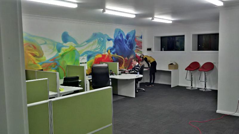 Colourful Ink Water Wall Mural in classroom