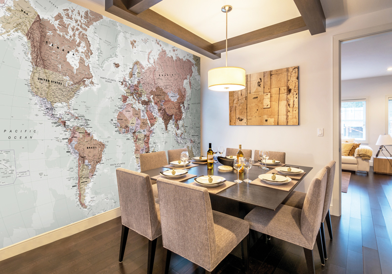 Executive political world map wall mural