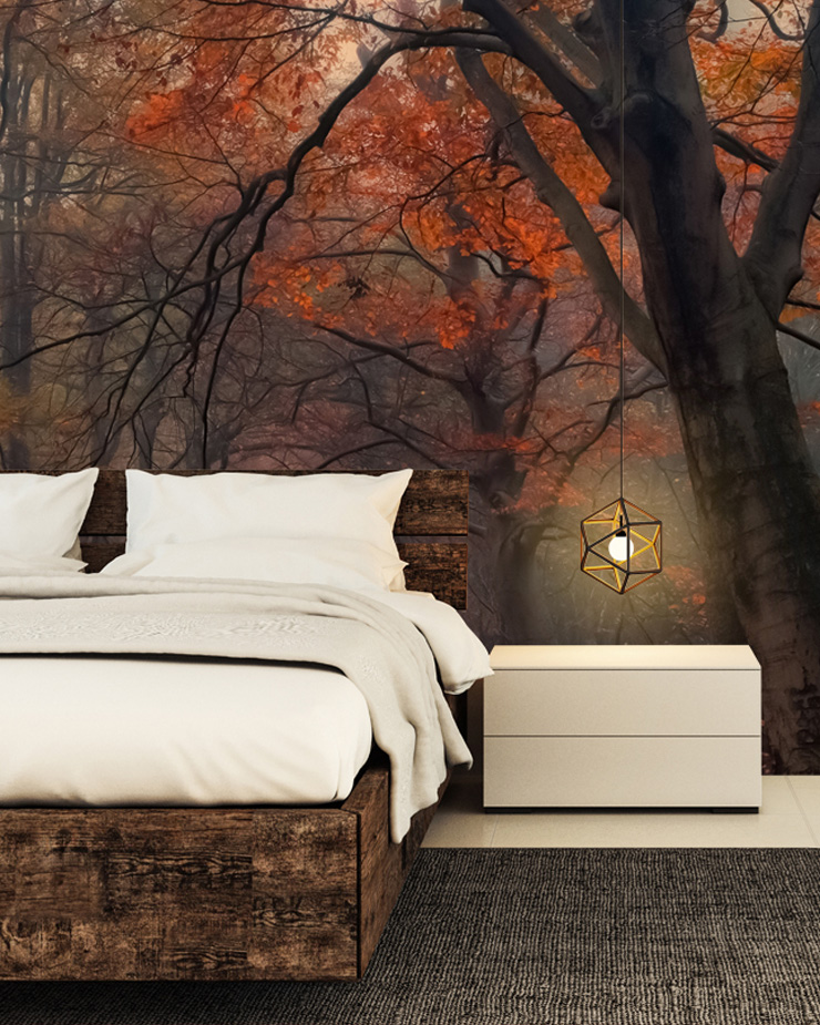 cosy-bedroom-with-forest-mural