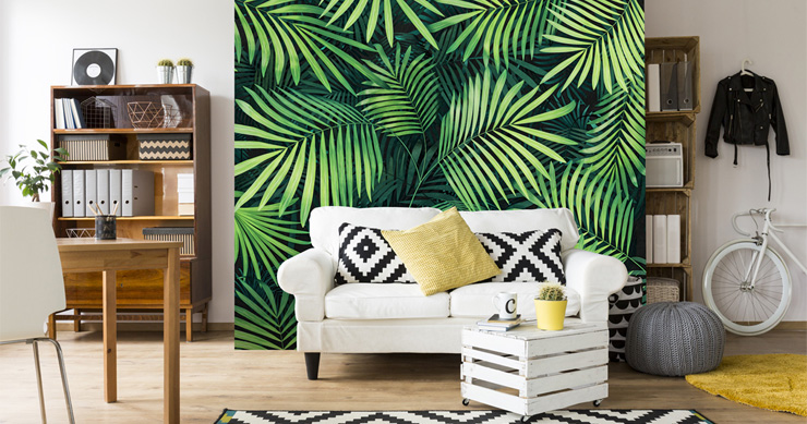 leaf-wallpaper-in-retro-living-room
