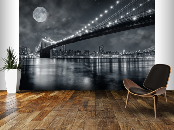 New york wall mural diy sos manhattan wallpaper for Brooklyn bridge mural