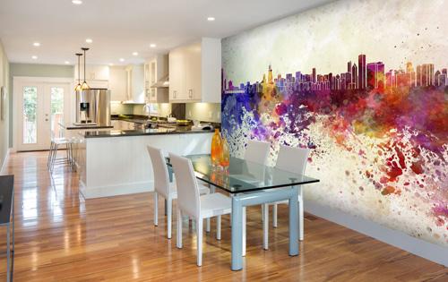 City skyline wall mural ideas photo wallpaper wallsauce for Chicago wall mural