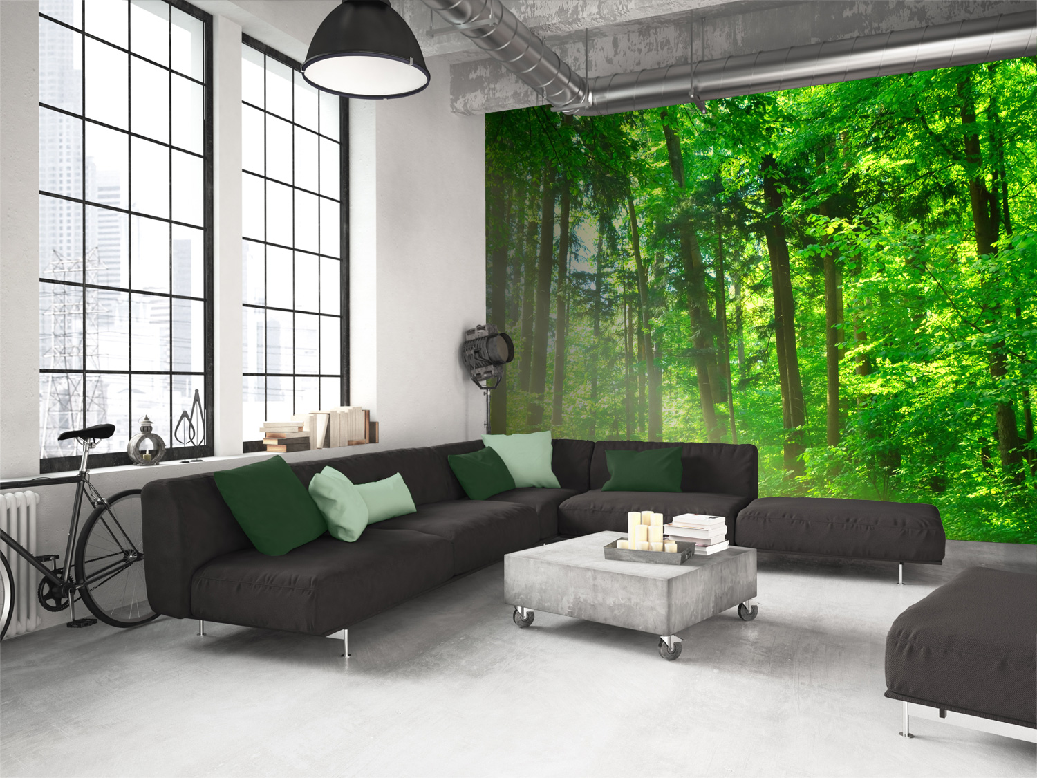 woodland-mural-in-living-room
