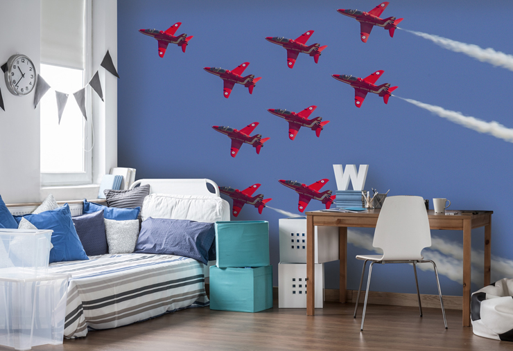 Red-Arrows-wall-mural-in-boys-bedroom