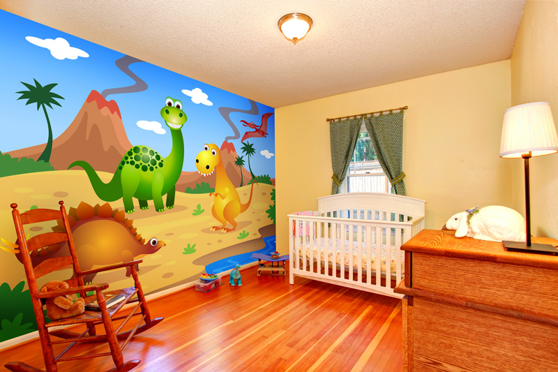 Dinosaur-wallpaper-in-kid's-nursery