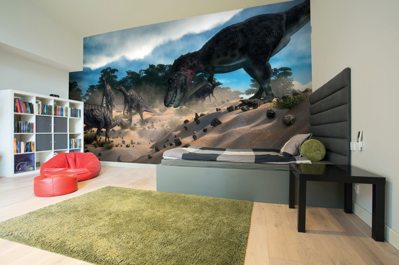 Dinosaur-wallpaper-in-teenager's-bedroom