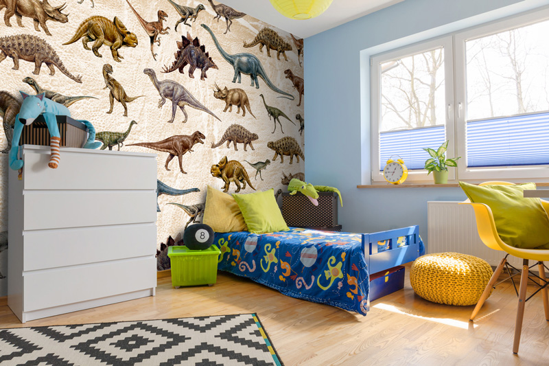 Patterned-dinosaur-wallpaper-in-boys-bedroom