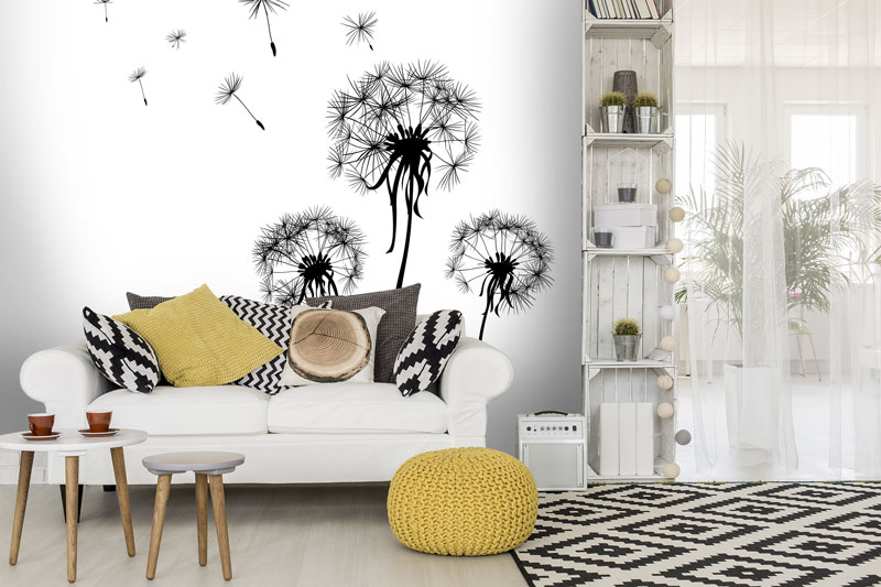 Dandelion-wallpaper-in-living-room