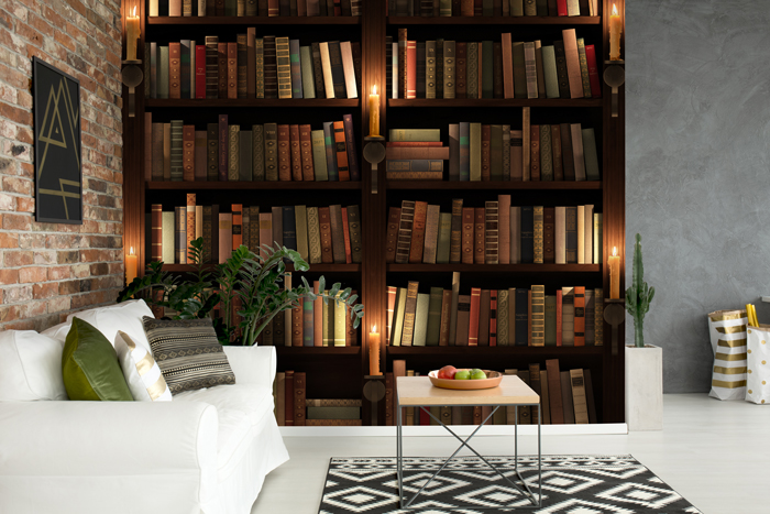 Feature wallpaper:Bookcase wallpaper