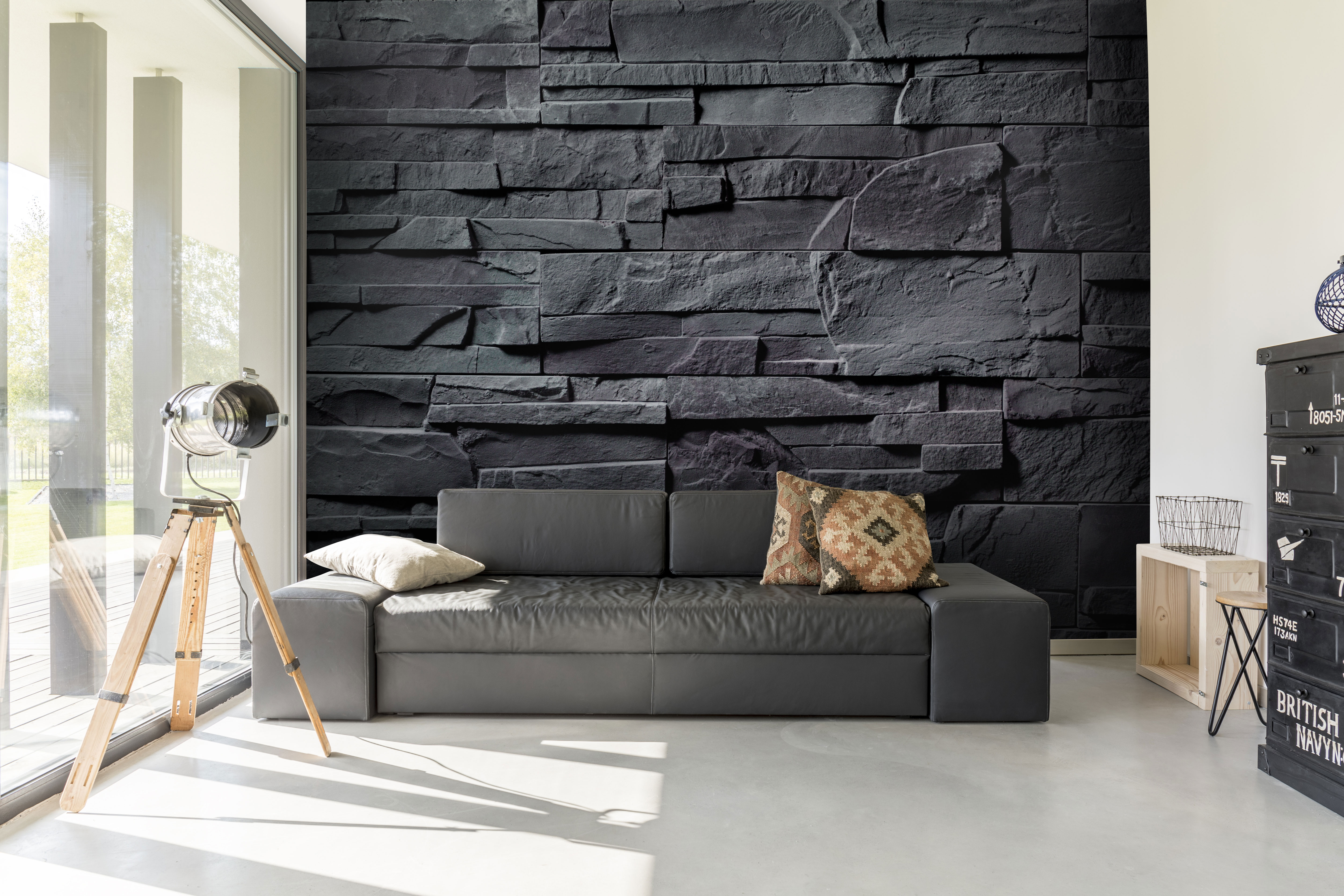 Charcoal Grey Stone Wall Mural