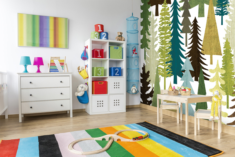 Illustrated tree mural in nursery