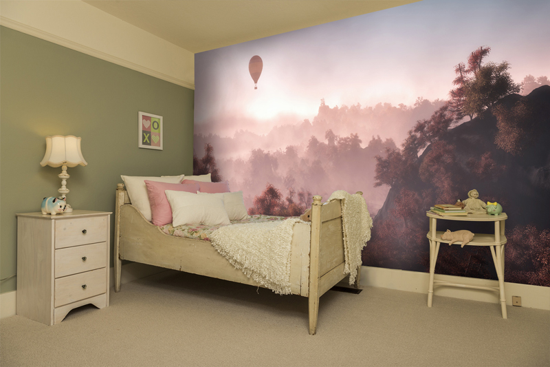 Pink tree mural in girls bedroom