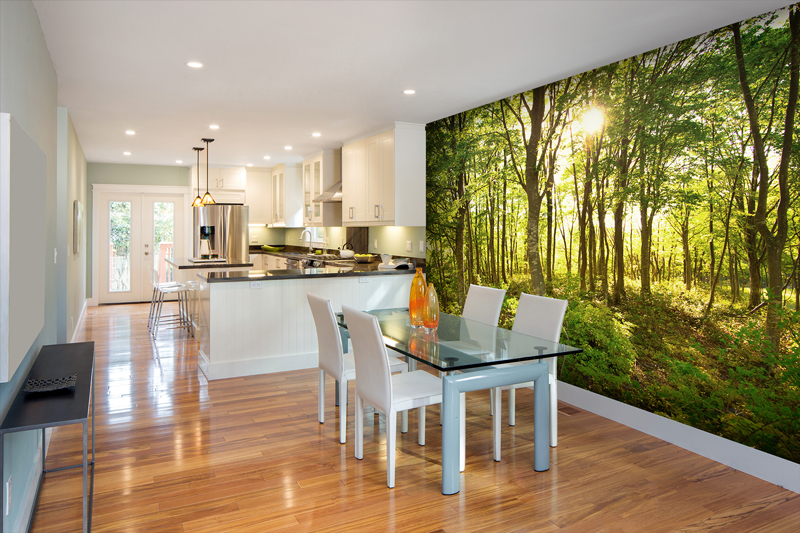 Tree mural in kitchen dining room