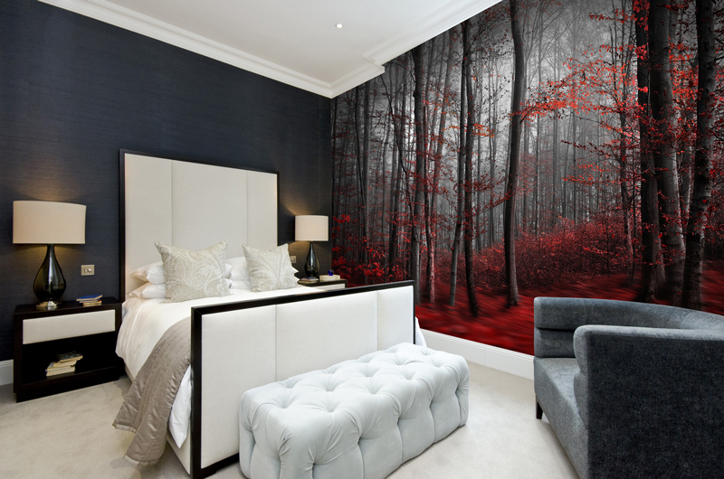 red-woodland-mural-in-bedroom