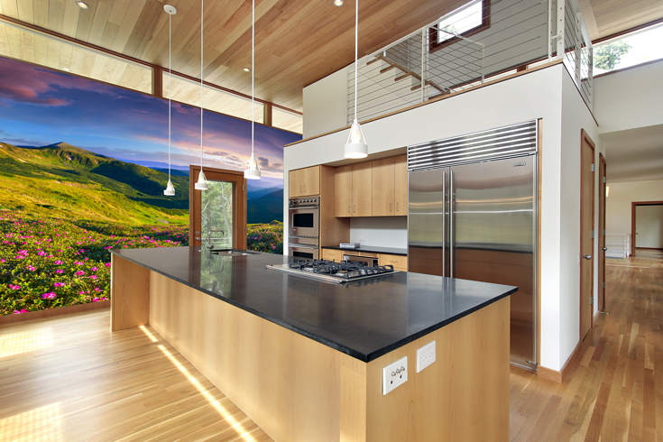 purple-meadow-wall-mural-in-kitchen