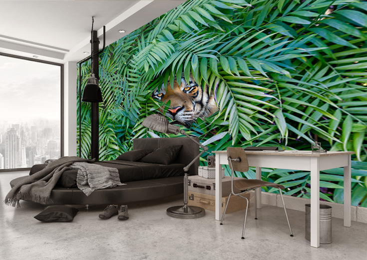 jungle wallpaper in bedroom