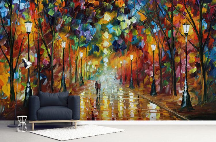 Afremov-contemporary-mural-in-lounge