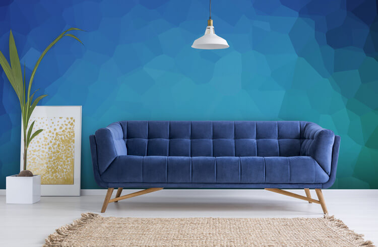 Blue-patterned-wallpaper-in-living-room