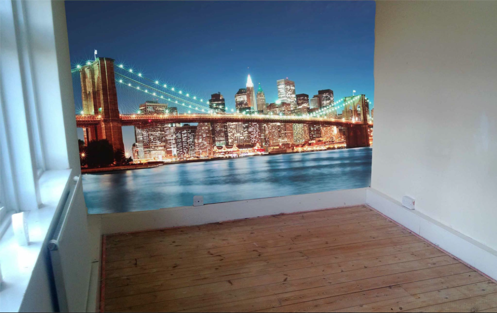 How to design a room with a city wall mural for Brooklyn bridge wallpaper mural