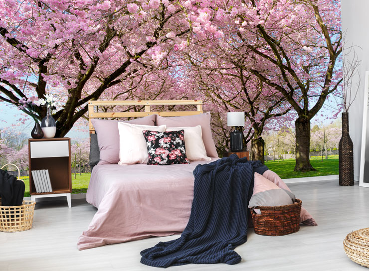 Cherry-blossom-wallpaper-in-bedroom