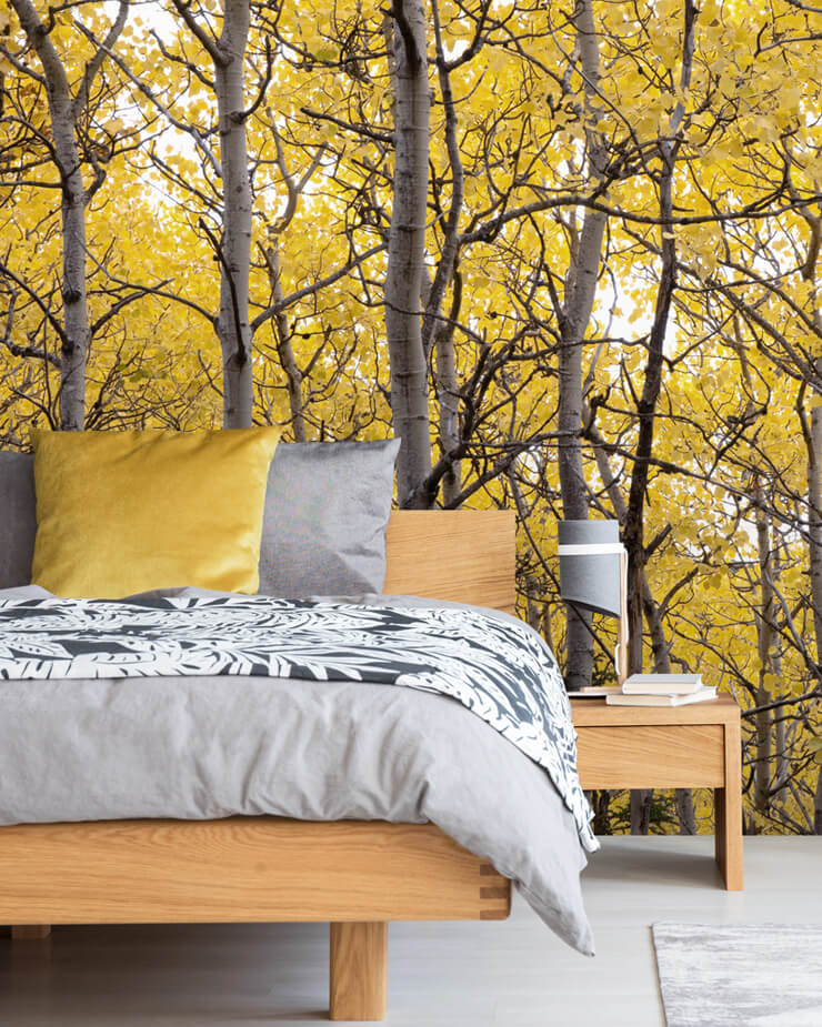 Yellow-tree-wallpaper-in-bedroom
