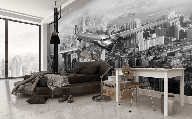 New-York-Plane-Wallpaper-in-Grey-Bedroom