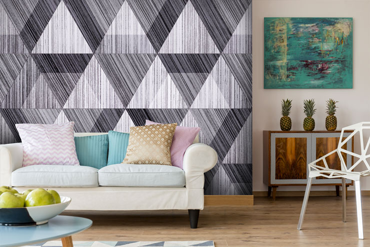 black-and-white-striped-wallpaper-in-living-room