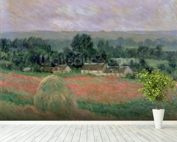Haystack at Giverny, 1886 (oil on canvas) wall mural room setting