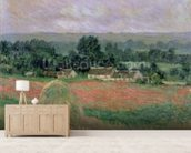 Haystack at Giverny, 1886 (oil on canvas) wall mural living room preview