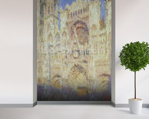 Rouen Cathedral at Sunset, 1894 mural wallpaper room setting
