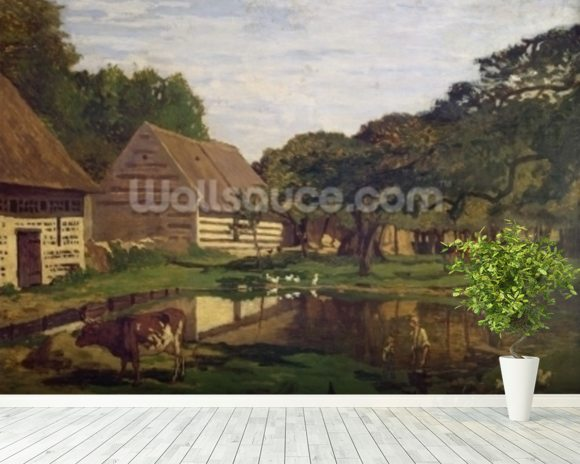 A Farmyard in Normandy, c.1863 (oil on canvas) wall mural room setting