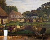 A Farmyard in Normandy, c.1863 (oil on canvas) wall mural kitchen preview