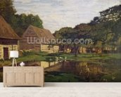 A Farmyard in Normandy, c.1863 (oil on canvas) wall mural living room preview