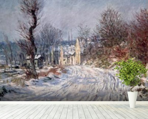 The Road to Giverny, Winter, 1885 mural wallpaper room setting