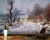 The Road to Giverny, Winter, 1885 mural wallpaper kitchen preview
