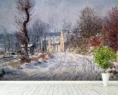 The Road to Giverny, Winter, 1885 mural wallpaper in-room view