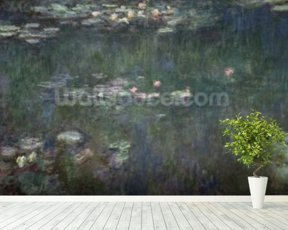 Waterlilies: Green Reflections, 1914-18 (central section) (oil on canvas) (see also 70302 & 56001) wall mural room setting
