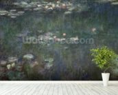 Waterlilies: Green Reflections, 1914-18 (central section) (oil on canvas) (see also 70302 & 56001) wall mural in-room view