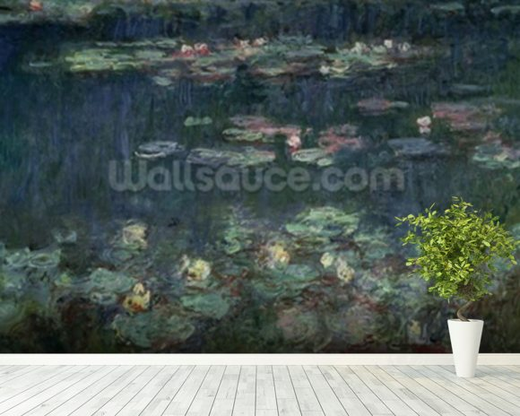 Waterlilies: Green Reflections, 1914-18 (right section) (oil on canvas) (see also 70302 & 56004) wallpaper mural room setting