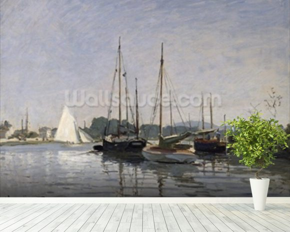 Pleasure Boats, Argenteuil, c.1872-3 (oil on canvas) mural wallpaper room setting