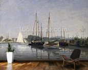 Pleasure Boats, Argenteuil, c.1872-3 (oil on canvas) mural wallpaper kitchen preview