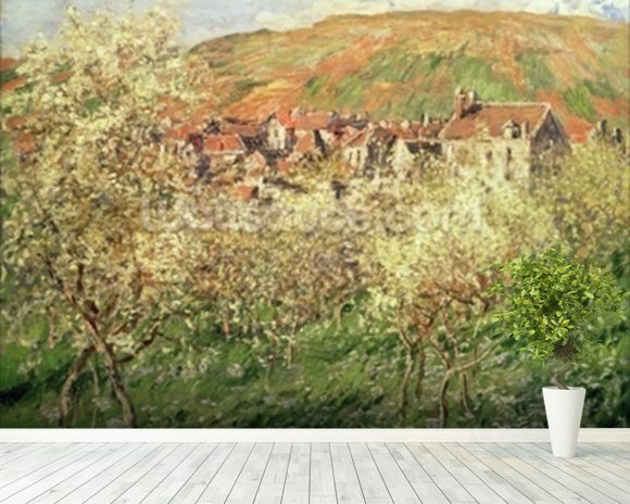 Monet claude apple trees in blossom wall mural for Apple tree mural