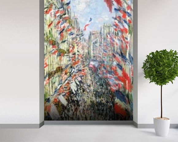 The Rue Montorgueil, Paris, Celebration of June 30, 1878 (oil on canvas) wallpaper mural room setting