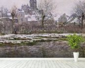 The Church at Vetheuil under Snow, 1878-79 (oil on canvas) mural wallpaper in-room view