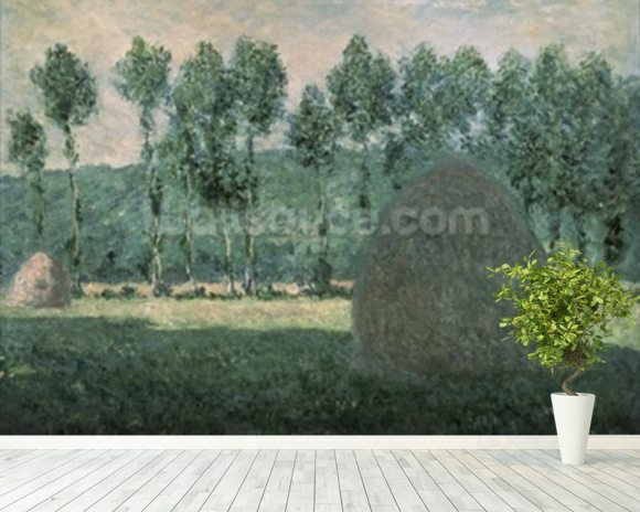 Haystacks near Giverny, c.1884-89 (oil on canvas) wallpaper mural room setting