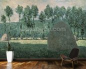 Haystacks near Giverny, c.1884-89 (oil on canvas) wallpaper mural kitchen preview